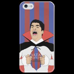 """Чехол для iPhone 5 глянцевый, с полной запечаткой """"Суарес"""" - футбол, футболист, барселона, суарес"""