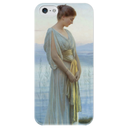 "Чехол для iPhone 5 глянцевый, с полной запечаткой ""Вечер у озера (Evening by the Lake)"" - картина, нонненбрух"