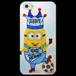 """Чехол для iPhone 5 глянцевый, с полной запечаткой """"Миньончик - фанат Зенита! :)"""" - зенит, футбол, в подарок, football, девушке, парню, ребенку, миньон, гадкий я, minion"""