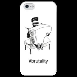 """Чехол для iPhone 5 глянцевый, с полной запечаткой """"Брутал"""" - борода, авторский рисунок, брутал, рояль, хайштег"""
