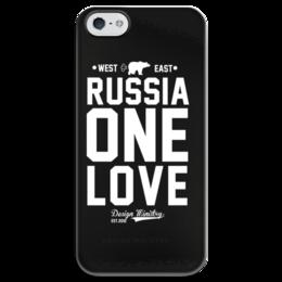 "Чехол для iPhone 5 глянцевый, с полной запечаткой ""RUSSIA ONE LOVE by DESIGN MINISTRY"" - любовь, iphone, россия, designministry, одна"