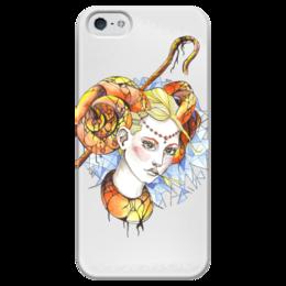 """Чехол для iPhone 5 глянцевый, с полной запечаткой """"Долли"""" - девушка, яркий принт, овечка долли"""