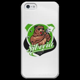 """Чехол для iPhone 5 глянцевый, с полной запечаткой """"Сибирь"""" - пистолет, медведь, клуб, сибирь, стрелки"""