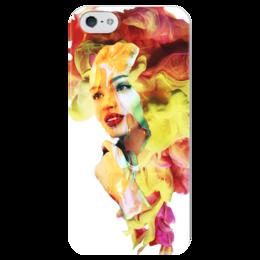 """Чехол для iPhone 5 глянцевый, с полной запечаткой """"Цвет 2017"""" - лицо, красный, ярко, желтый, 2017"""