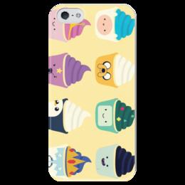 """Чехол для iPhone 5 глянцевый, с полной запечаткой """"Adventure time"""" - adventure time, время приключений, cupcakes, капкейк"""