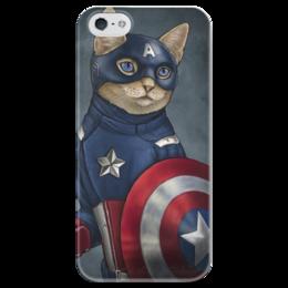 """Чехол для iPhone 5 глянцевый, с полной запечаткой """"КотАмерика"""" - арт, cat, кот, captain america, капитан америка"""
