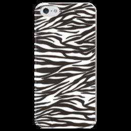 """Чехол для iPhone 5 глянцевый, с полной запечаткой """"Зебра"""" - узор, стиль, зебра, рисунок, звериный"""