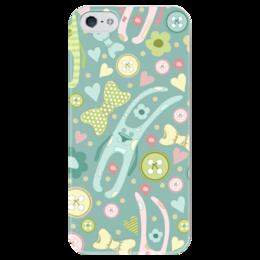 """Чехол для iPhone 5 глянцевый, с полной запечаткой """"Счастливый кролик"""" - сердце, любовь, цветы, узор, день святого валентина, заяц, счастье, дети, радость, улыбка"""