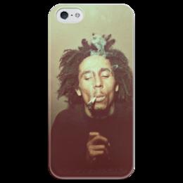 """Чехол для iPhone 5 глянцевый, с полной запечаткой """"Bob Morley"""" - регги, боб марли, ganja, bob marley, reggae, рокстеди, ска"""