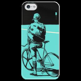 """Чехол для iPhone 5 глянцевый, с полной запечаткой """"с велосипедом"""" - bmx, street, стрит, велоспорт, девушка на велосипеде, дерт, freeride, девушка с татуировкой, bicycle, bike"""