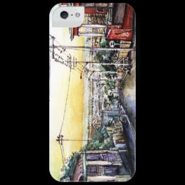"""Чехол для iPhone 5 глянцевый, с полной запечаткой """"morning"""" - утро, город, city, street"""