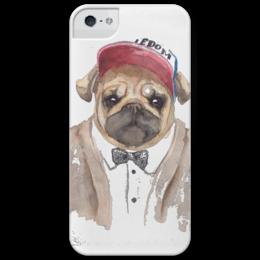 """Чехол для iPhone 5 глянцевый, с полной запечаткой """"Sweet Animals. Pug"""" - арт, dog, pug, мопс"""