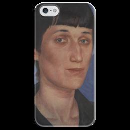 """Чехол для iPhone 5 глянцевый, с полной запечаткой """"Портрет Анны Ахматовой"""" - картина, петров-водкин"""