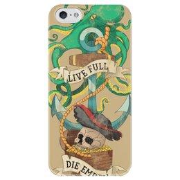 """Чехол для iPhone 5 глянцевый, с полной запечаткой """"Осьминог"""" - череп, якорь, old school, татуировка, пират"""