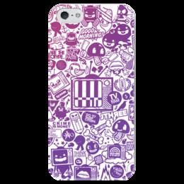 "Чехол для iPhone 5 глянцевый, с полной запечаткой ""Blood Sweat Vector"" - коллаж, sticker bombing, стикер-арт, sticker art"