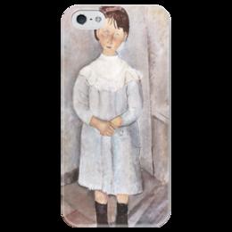 """Чехол для iPhone 5 глянцевый, с полной запечаткой """"Девочка в голубом платье"""" - картина, модильяни"""