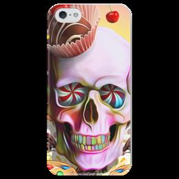 """Чехол для iPhone 5 глянцевый, с полной запечаткой """"Sweet Skull"""" - skull, череп, сладости, печенье, пирожное"""
