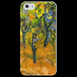 """Чехол для iPhone 5 глянцевый, с полной запечаткой """"Танцующий лес"""" - арт, импрессионизм, природа"""