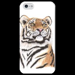 """Чехол для iPhone 5 глянцевый, с полной запечаткой """"Взгляд тигра"""" - хищник, животные, взгляд, тигр, зверь"""