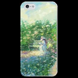 """Чехол для iPhone 5 глянцевый, с полной запечаткой """"Девушка на скамейке!"""" - девушка, оригинальный подарок, чехол на телефон, картина на чехле, девушка на скамейке"""