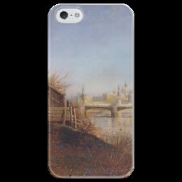 """Чехол для iPhone 5 глянцевый, с полной запечаткой """"Вид на Кремль"""" - картина, саврасов"""
