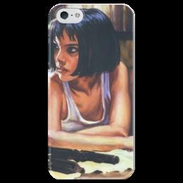 """Чехол для iPhone 5 глянцевый, с полной запечаткой """"Матильда Ландо"""" - пистолет, арт, леон, натали портман, матильда ландо"""