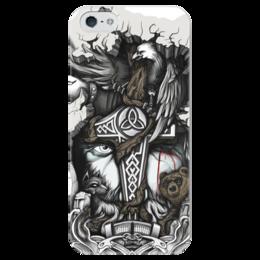 """Чехол для iPhone 5 глянцевый, с полной запечаткой """"Великий Один"""" - бог, викинги, мифы, один, путь воина"""