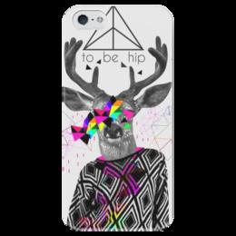 """Чехол для iPhone 5 глянцевый, с полной запечаткой """"Хипстер олень """" - олень, хипстер, hipster, deer"""