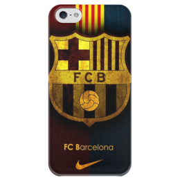 """Чехол для iPhone 5 глянцевый, с полной запечаткой """"Барселона"""" - barcelona, барселона, fcb, barca"""