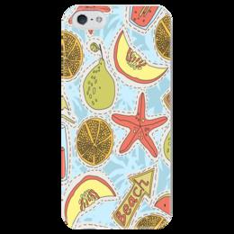 """Чехол для iPhone 5 глянцевый, с полной запечаткой """"Summer"""" - лето, фрукты, море, пляж, summer, beach, fun, fruits"""