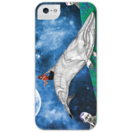 """Чехол для iPhone 5 глянцевый, с полной запечаткой """"Ирисовый кит"""" - девушка, рисунок, космос, графика, кит, ирис, whale, ocean, space"""