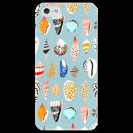 """Чехол для iPhone 5 глянцевый, с полной запечаткой """"Морские"""" - лето, море, пляж, песок, ракушки"""