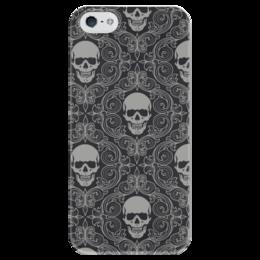"""Чехол для iPhone 5 глянцевый, с полной запечаткой """"Texture skull"""" - skull, череп, обои, vector art"""