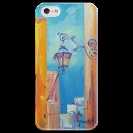 """Чехол для iPhone 5 глянцевый, с полной запечаткой """"Фонарик и улочка"""" - море, венеция, улочки, фонарик"""