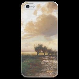 """Чехол для iPhone 5 глянцевый, с полной запечаткой """"Просёлок"""" - картина, саврасов"""