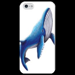"""Чехол для iPhone 5 глянцевый, с полной запечаткой """"Синий кит"""" - животные, море, синий, рыбы, кит"""