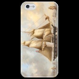 """Чехол для iPhone 5 глянцевый, с полной запечаткой """"Корабль"""" - sea, корабль, парусник"""