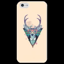 """Чехол для iPhone 5 глянцевый, с полной запечаткой """"Олень Хипстер"""" - олень, хипстер"""