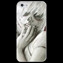 """Чехол для iPhone 5 глянцевый, с полной запечаткой """"Skull girl"""" - skull, череп, девушка, смерть, santa muerte"""