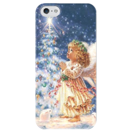 "Чехол для iPhone 5 глянцевый, с полной запечаткой ""Angel"" - праздник, рождество, merry christmas, angel, ангел, snow, снег"