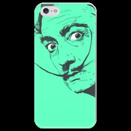 """Чехол для iPhone 5 глянцевый, с полной запечаткой """"Сальвадор Дали"""" - арт, стиль, популярные, глаза, рисунок, сальвадор дали, усы, авторские чехлы, salvador dali, artist"""