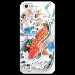 """Чехол для iPhone 5 глянцевый, с полной запечаткой """"Китайский карп"""" - китай, карп, благополучие"""
