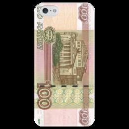 """Чехол для iPhone 5 глянцевый, с полной запечаткой """"сто рублей"""" - москва, деньги, россия, купюра, сто рублей"""