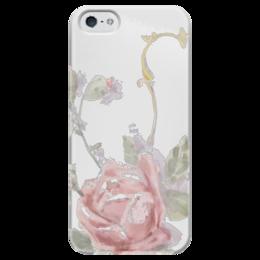 """Чехол для iPhone 5 глянцевый, с полной запечаткой """"Нежная роза"""" - цветы, белый, рисунок, акварель, нежный"""