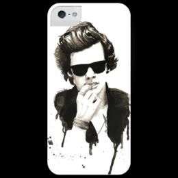 "Чехол для iPhone 5 глянцевый, с полной запечаткой ""Harry Styles (One Direction)"" - арт, поп, one direction, harry styles, my art, гарри стайлс"