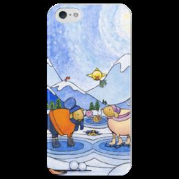 """Чехол для iPhone 5 глянцевый, с полной запечаткой """"Lollypups #20"""" - арт, зима, овца"""
