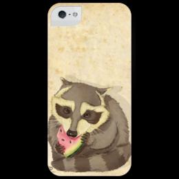 """Чехол для iPhone 5 глянцевый, с полной запечаткой """"енот-арбузоежка"""" - в подарок, енот, raccoon, animal, watermelon, арбуз"""