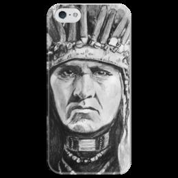"""Чехол для iPhone 5 глянцевый, с полной запечаткой """"Индеец"""" - индеец, native american, chief, вождь"""