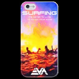 """Чехол для iPhone 5 глянцевый, с полной запечаткой """"Серфинг на закате"""" - закат, серфинг, surfing, wave"""