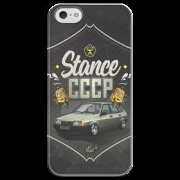 "Чехол для iPhone 5 глянцевый, с полной запечаткой ""Stance СССР"" - ссср, drift, ваз, дрифт"